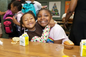 Students from The Mather School in Boston fuel up with a nutrient-rich breakfast at school.